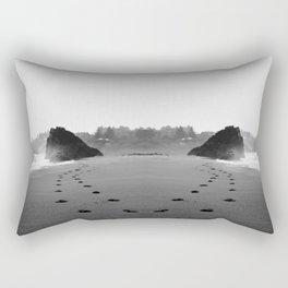 Oregon Coast Beach Footprints Rectangular Pillow