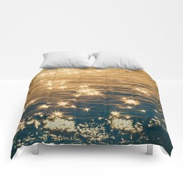 Sparkling Ocean in Gold and Navy Blue Comforters