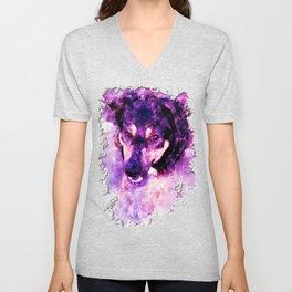 dog 3 perfect purple Unisex V-Neck