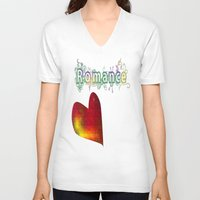 romance V-neck T-shirts featuring Romance by World Raven