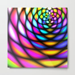 Panels of bright neon glass abstract tunnel concept Metal Print