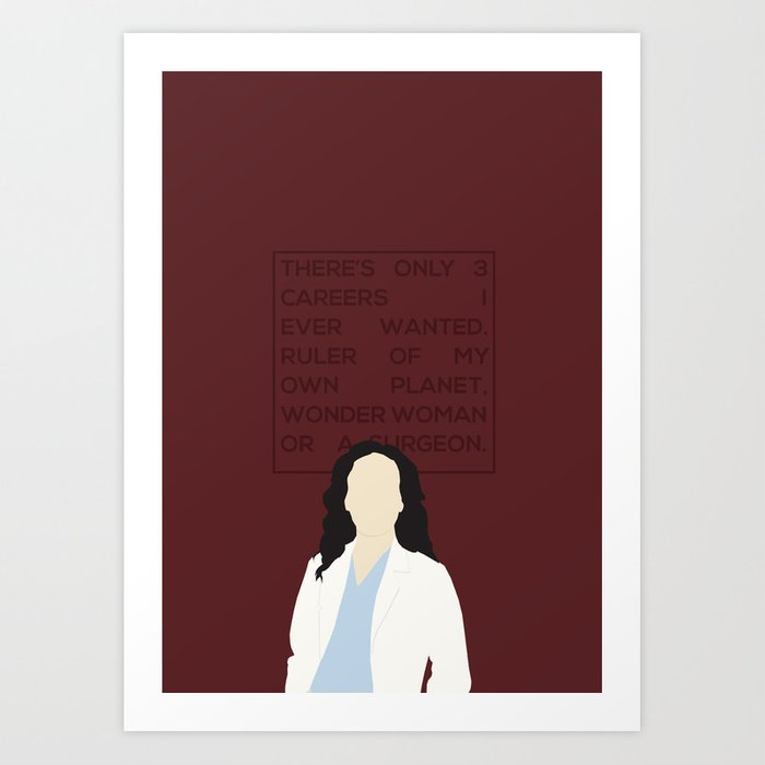 Greys Anatomy Wall Decor : Greys anatomy cristina yang art print by