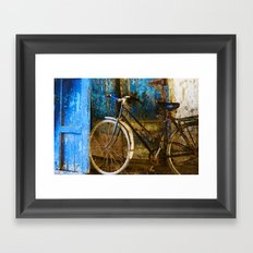 Blue Bicycle Framed Art Print