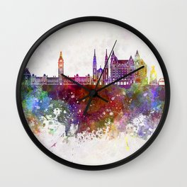 Ottawa V2 skyline in watercolor background Wall Clock