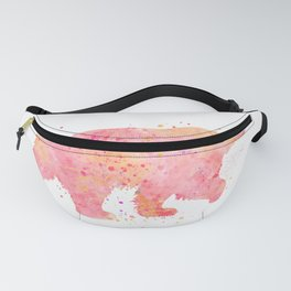 Pink Bear Watercolor Painting 2 Fanny Pack