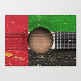 Old Vintage Acoustic Guitar with UAE Flag Canvas Print