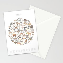 100 animals Stationery Cards