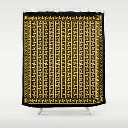 Greek Key Full - Gold and Black Shower Curtain