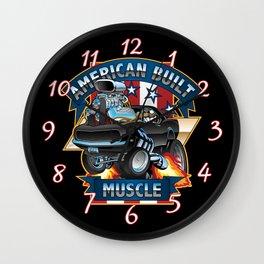 American Built Muscle - Classic Muscle Car Cartoon Illustration Wall Clock