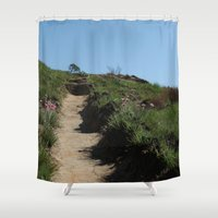 hiking Shower Curtains featuring Let's go Hiking! by Cool Goon