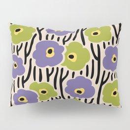 Mid Century Modern Wild Flowers Pattern Purple and Green Pillow Sham
