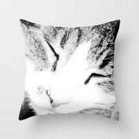 sleep Throw Pillows featuring sleep by Sugarless Daydreams