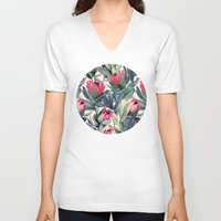 floral V-neck T-shirts featuring Painted Protea Pattern by micklyn