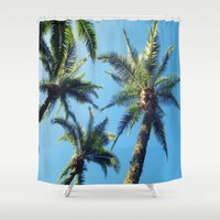 palm trees Shower Curtains featuring Palm Trees by Jillian Stanton