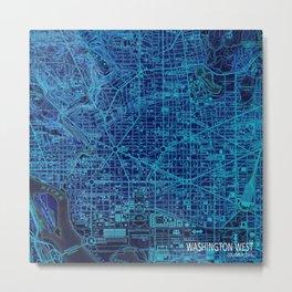 Washington West Columbia year 1945 old blue map Metal Print