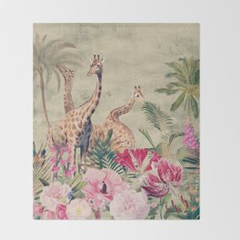 Vintage & Shabby Chic - Tropical Animals And Flower Garden Throw Blanket