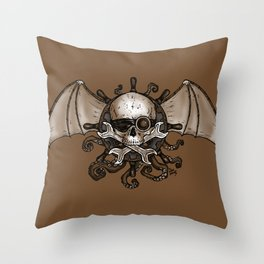 Airships and Tentacles SkullWheel Glyph Throw Pillow