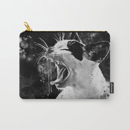 evil cat mouth wide open splatter watercolor black white Carry-All Pouch