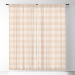Gingham Pattern - Warm Neutral Blackout Curtain
