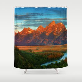 Grand Tetons - Jackson Hole, Wyoming in Autumn Shower Curtain
