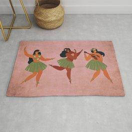 Hawaiian Hula Dancer Girls on Aged Pink Rug