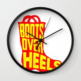 Boots Over Heels Country Girl Military Woman Wall Clock