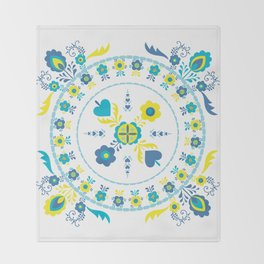 Folk Flowers in Yellow and Turquoise Throw Blanket