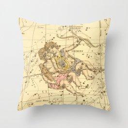Vintage Gemini Constellation Map (1822) Throw Pillow
