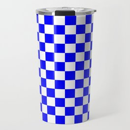 Small Checkered - White and Blue Travel Mug