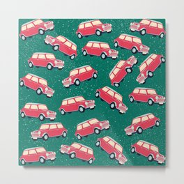 Christmas car pattern - red and green Metal Print