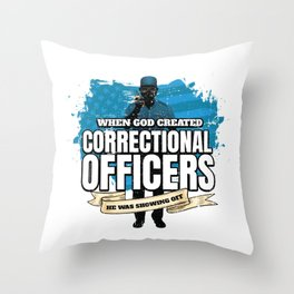 God Created Correctional Officers American Throw Pillow