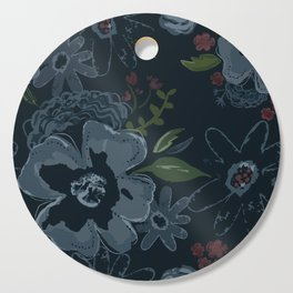 Moody Blues Floral Pattern Cutting Board