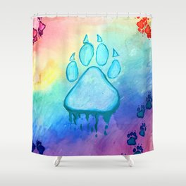 Painted Paw Prints on the Heart Shower Curtain