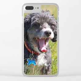 Cute Puppy Yawning Clear iPhone Case