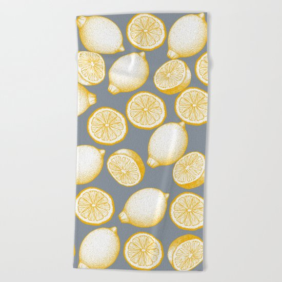 Lemons On Grey Background Beach Towel
