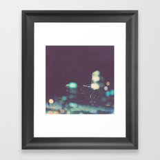 Nightowl. downtown Los Angeles skyline at night photograph. Framed Art Print