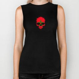 Flag of Morocco on a Chaotic Splatter Skull Biker Tank
