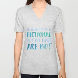 The Characters May Be Fictional But The Tears Are Not - Blue Unisex V-Neck