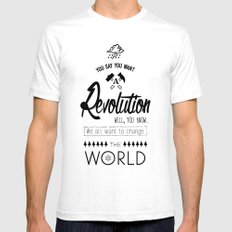 Lennon's Revolution White SMALL Mens Fitted Tee
