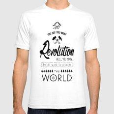 Lennon's Revolution Mens Fitted Tee SMALL White