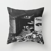 death Throw Pillows featuring Death by Sarah Van Neyghem