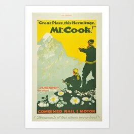 Vintage Mount Cook New Zealand Travel Climbing Art Print