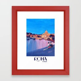 Rome Scene with Motorcycle and view of Vatican with Dome of St Peter Framed Art Print