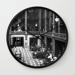 A Book Lover's Dream - Cast-iron Book Alcoves of Old Cincinnati Public Library No. 6 photograph Wall Clock