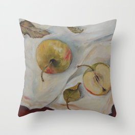 YELLOW APPLES Classic Still Life oil painting for kitchen Impressionism Throw Pillow