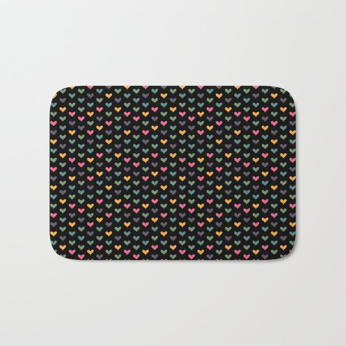 Small hearts on black Bath Mat