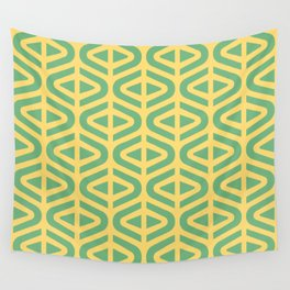 Mid Century Modern Split Triangle Pattern Green and Yellow Wall Tapestry