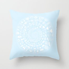 Snow & Ice Love Symbol Mandala Throw Pillow