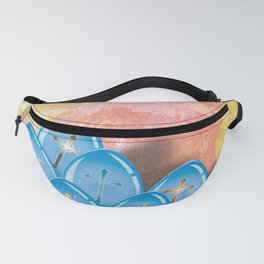 Blue eggs and crosses on pastel textured background Fanny Pack