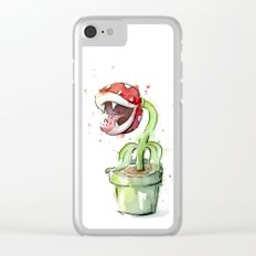 Piranha Plant Art Nintendo Mario Videogame Geek Gaming Clear iPhone Case
